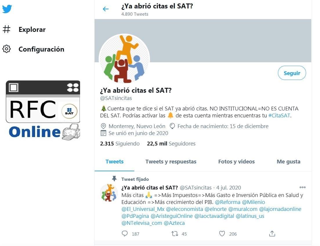 Citas sat info twitter
