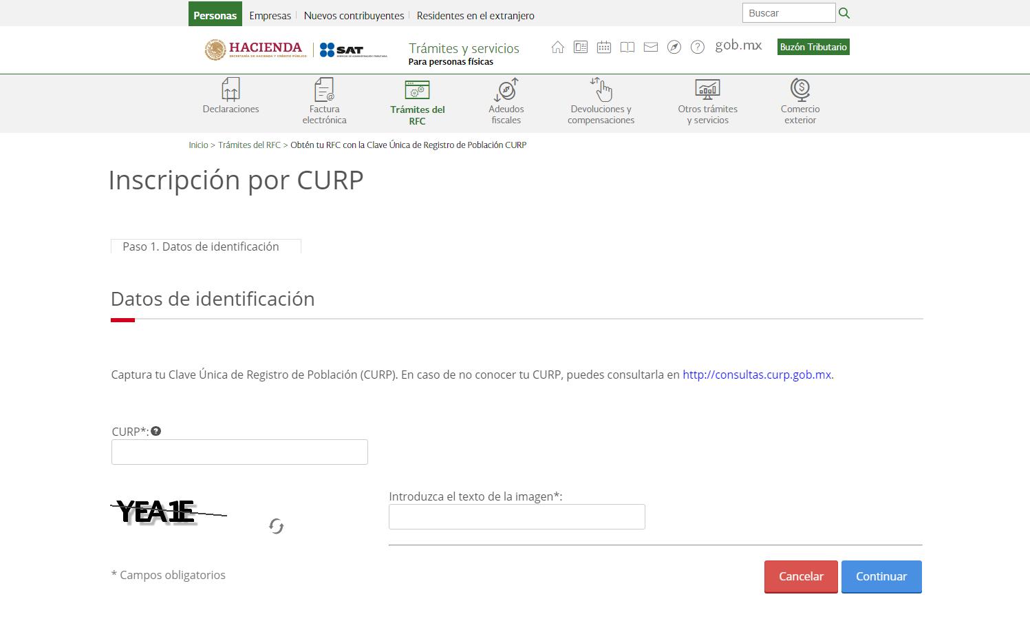 Obtener RFC con CURP