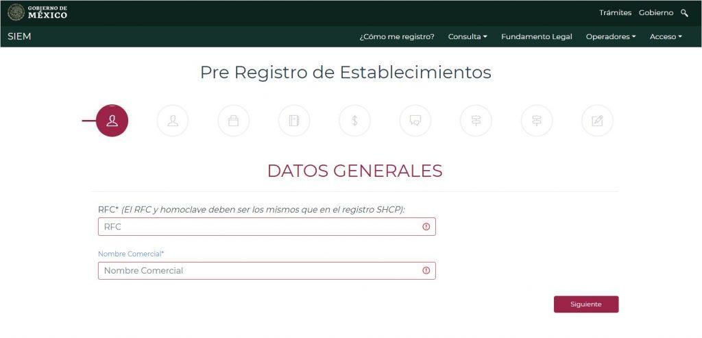 Formulario de registro siem