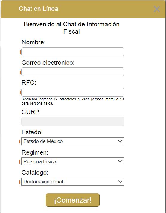 Datos Chat orientasat contribuyentes SAT